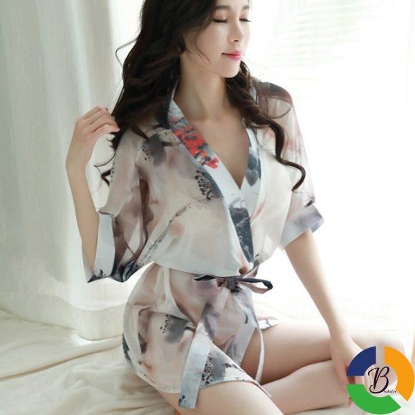 Ladies Sexy Nightdress Fashion Women Kimono Style Splicing Nightwear V neck Sleepwear Summer Homewear Nightgown For 1 » Brabeton » The People's Marketplace » 25/01/2021