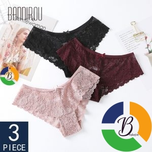 3 Pcs Panties For Woman Underwear Sexy Lace Breathable Female Panty-Transparent Briefs Sexy Underwear Women - Brabeton