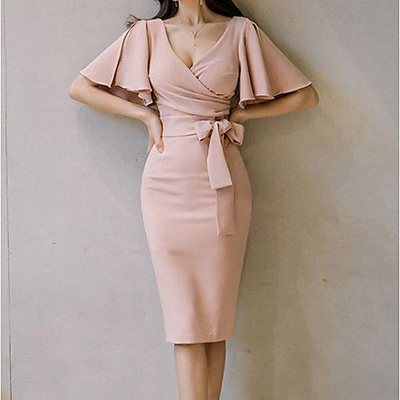 Overlapped Bodycon Dress - Brabeton