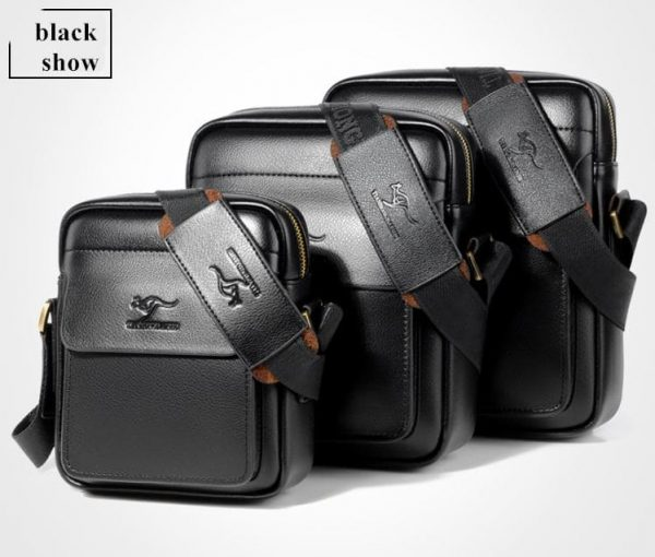 Vintage Crossbody Business Leather Shoulder Bag For Men - Black all