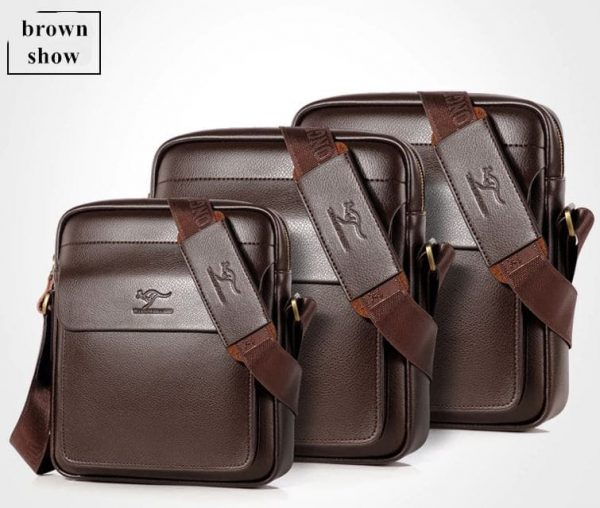 Vintage Crossbody Business Leather Shoulder Bag For Men - Brown all