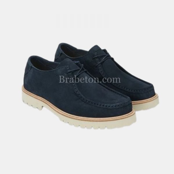 Lace-up Cowhide Shoe of Cowhide Navy